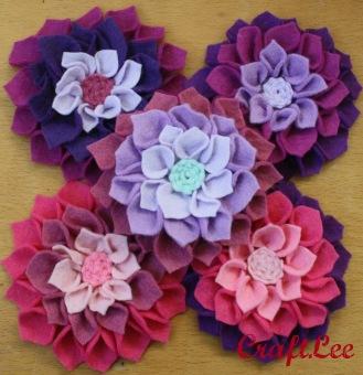 Felt Flowers purple