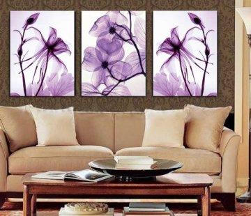 Transparent Purple Flowers HD Print on Canvas