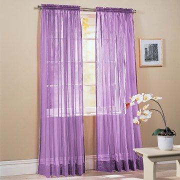 "2-Piece Solid Lavender Purple Sheer Window Curtains/Drape/Panels/Treatment 60""w X 84"""