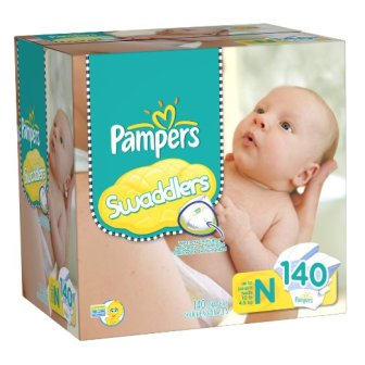 2 X Pampers Swaddlers Diapers Size 0 Giant Pack, 140 Count
