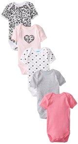 BON BEBE Baby-Girls Newborn Hearts 5 Pack Lap Shoulder Bodysuits with Snaps